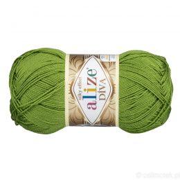 Alize Diva 210 to piękna turecka włóczka z jedwabnym połyskiem w kolorze trawiastym.100g/350m. 100% mikrofibry.