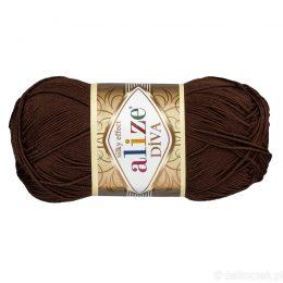 Alize Diva 26 to piękna turecka włóczka z jedwabnym połyskiem w kolorze czekoladowym.100g/350m. 100% mikrofibry.