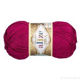 Alize Diva 326 to piękna turecka włóczka z jedwabnym połyskiem w kolorze malinowym.100g/350m. 100% mikrofibry.