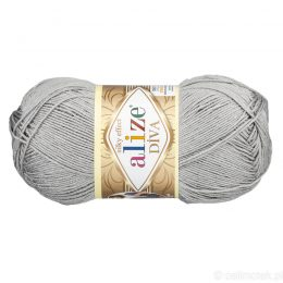 Alize Diva 355 to piękna turecka włóczka z jedwabnym połyskiem w kolorze szarym.100g/350m. 100% mikrofibry.