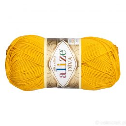 Alize Diva 488 to piękna turecka włóczka z jedwabnym połyskiem w kolorze słonecznym.100g/350m. 100% mikrofibry.