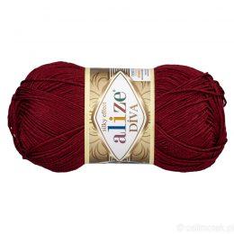Alize Diva 57 to piękna turecka włóczka z jedwabnym połyskiem w kolorze bordowym.100g/350m. 100% mikrofibry.