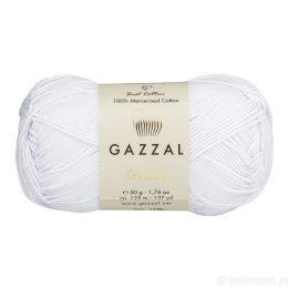 Włóczka Gazzal Giza 2450 to pięknie połyskująca merceryzowana bawełna w białym kolorze. Idealnie nadaje się na zabawki dla niemowlaków.