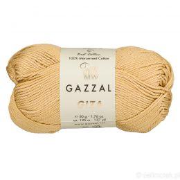 Włóczka Gazzal Giza 2452 to pięknie połyskująca merceryzowana bawełna w karmelowym kolorze. Idealnie nadaje się na zabawki dla niemowlaków.