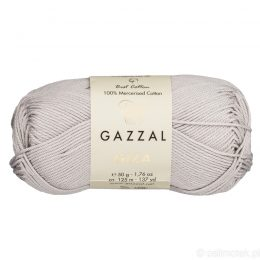 Włóczka Gazzal Giza 2456 to pięknie połyskująca merceryzowana bawełna w szarym kolorze. Idealnie nadaje się na zabawki dla niemowlaków.