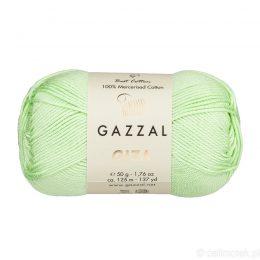 Włóczka Gazzal Giza 2458 to pięknie połyskująca merceryzowana bawełna w pistacjowym kolorze. Idealnie nadaje się na zabawki dla niemowlaków.