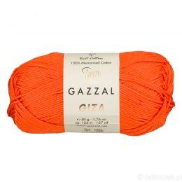 Włóczka Gazzal Giza 2465 to pięknie połyskująca merceryzowana bawełna w pomarańczowym kolorze. Idealnie nadaje się na zabawki dla niemowlaków.