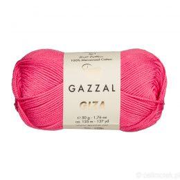 Włóczka Gazzal Giza 2470 to pięknie połyskująca merceryzowana bawełna w kolorze fuksji. Idealnie nadaje się na zabawki dla niemowlaków.