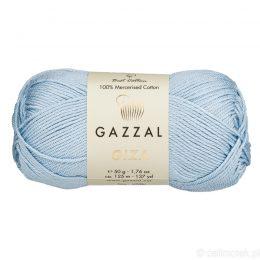 Włóczka Gazzal Giza 2474 to pięknie połyskująca merceryzowana bawełna w błękitnym kolorze. Idealnie nadaje się na zabawki dla niemowlaków.