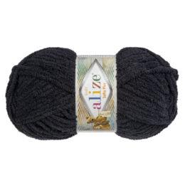 Alize Softy Plus 60 czarny to mięciutka włochata włóczka idealna na maskotki, szale, poduchy i koce. 100g/120m