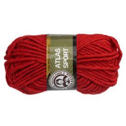 Włóczka MTP Atlas Sport 033 w kolorze czerwonym to ciepły gruby akryl w typie bulky. Świetna na zimowe akcesoria. 100g/65m