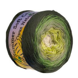 Opus Natura Summer Soft Cake 50002 cukierkowa mieszanka bawełny i akrylu w cudnych cieniowanych kolorach zieleni i kremu.