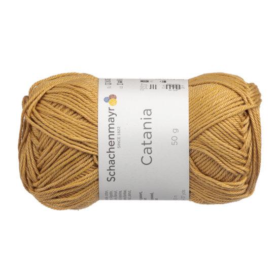 Schachenmayr Catania 00431 to bawełniana włóczka w kolorze musztardowym. Pięknie skręcona, z połyskiem. 50g/125m.