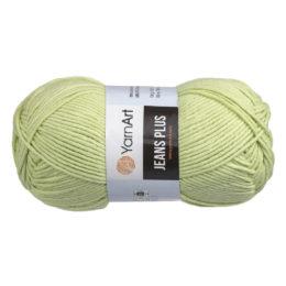Yarn Art Jeans Plus 11 to akrylowo-bawełniana włóczka w kolorze pistacji. 100g/160m Świetny wybór przy tworzeniu zabawek lub torebek.