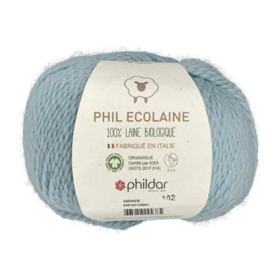 Phildar Phil Ecolaine 1298 w kolorze błękitu to 100% organicznej wełny. Idealna na czapki i inne zimowe akcesoria. 50g/125m