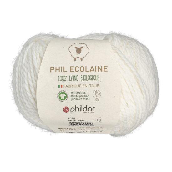 Phildar Phil Ecolaine 1359 w kolorze kremowym to 100% organicznej wełny. Idealna na czapki i inne zimowe akcesoria. 50g/125m