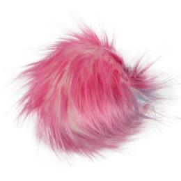 Pompon kolorowy różowy 10cm ze sztucznego futerka z doczepionym sznureczkiem. Idealny dodatek do zimowej czapki lub breloka.
