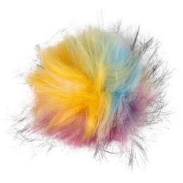 Pompon kolorowy tęczowy 10cm ze sztucznego futerka z doczepionym sznureczkiem. Idealny dodatek do zimowej czapki lub breloka.