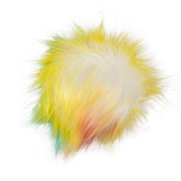Pompon kolorowy żółty 10cm ze sztucznego futerka z doczepionym sznureczkiem. Idealny dodatek do zimowej czapki lub breloka.